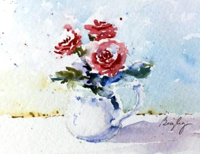 White Pitcher & Red Roses