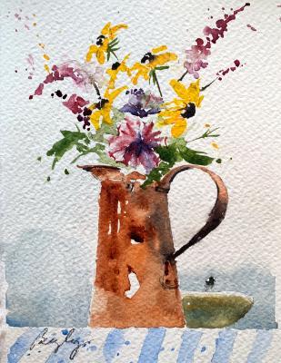 Copper Pitcher & Wildflowers