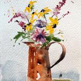 Copper Pitcher & Wildflowers