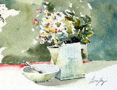 Green Pitcher & White Daisies