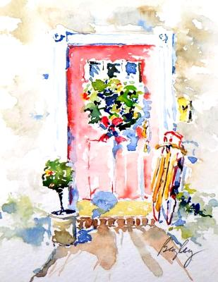 Red Door with sled