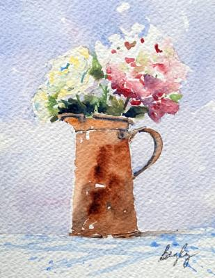 Copper Pitcher & Roses