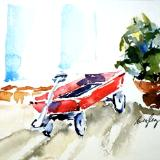 Red Wagon and Plant