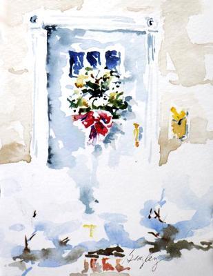 Winter Door with Snow